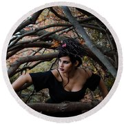 Forest Witch Round Beach Towel