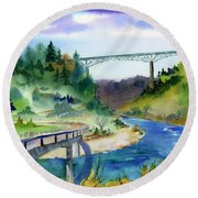 Foresthill Bridge #2 Round Beach Towel