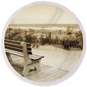 Round Beach Towel featuring the photograph Forever At Sea - Jersey Shore by Angie Tirado