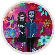 Round Beach Towel featuring the painting Forever Love by Pristine Cartera Turkus