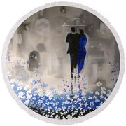 Round Beach Towel featuring the painting Forever Love by Raymond Doward