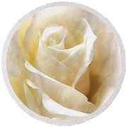 Round Beach Towel featuring the photograph Forever More - Ivory Rose by Janine Riley