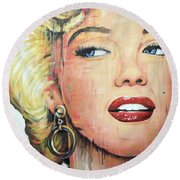 Forever Young - Marilyn Monroe Portrait Face Art Painting Round Beach Towel