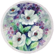 Forget-me-knots And Roses Round Beach Towel