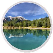 Forget Me Not Pond Panorama Round Beach Towel