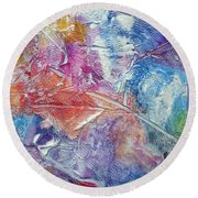 Round Beach Towel featuring the painting Forgive Quickly by Tracy Bonin
