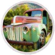 Forgotten - 1945 Ford Farm Truck Round Beach Towel