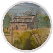 Forgotten And Misty Country Shed Round Beach Towel