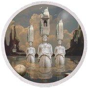 Round Beach Towel featuring the digital art Forgotten Atlantis by Alexa Szlavics