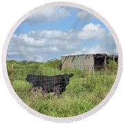 Round Beach Towel featuring the photograph Forgotten Barn In Osage County by Janette Boyd
