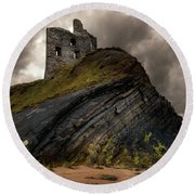 Forgotten Castle In Ballybunion Round Beach Towel