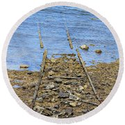 Round Beach Towel featuring the photograph Forgotten Line by Stephen Mitchell