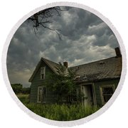 Round Beach Towel featuring the photograph Forgotten Mammatus  by Aaron J Groen