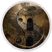 Forgotten Staircase Round Beach Towel by Jaroslaw Blaminsky