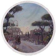 Fori Romani - Street To Colosseo Round Beach Towel