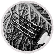 Fork And Cabbage Leaf Round Beach Towel