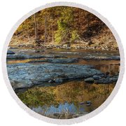Round Beach Towel featuring the photograph Fork River Reflection In Fall by Iris Greenwell
