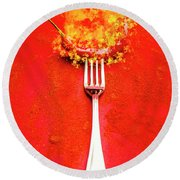 Forking Hot Food Round Beach Towel