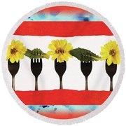 Round Beach Towel featuring the digital art Forks And Flowers by Paula Ayers