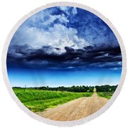 Forming Clouds Over Gravel Round Beach Towel