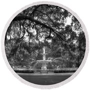 Forsyth Park Fountain 2 Savannah Georgia Art Round Beach Towel by Reid Callaway
