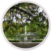 Forsyth Park Fountain Historic Savannah Georgia Round Beach Towel by Reid Callaway