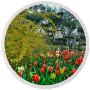 Round Beach Towel featuring the photograph Forsythia Tulips And Daffadils by Diana Mary Sharpton