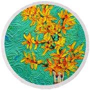 Forsythia Vibration Modern Impressionist Flower Art Palette Knife Oil Painting By Ana Maria Edulescu Round Beach Towel