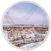 Fort Collins Aeiral Cityscape Round Beach Towel