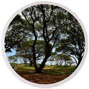 Fort Fisher Beach Trees  Round Beach Towel