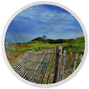 Fort Fisher Fence Round Beach Towel