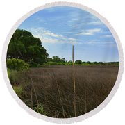 Fort Fisher Grass Meadow Round Beach Towel
