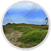 Fort Fisher Landscape Round Beach Towel