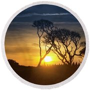 Fort Fisher Sky Watch Round Beach Towel