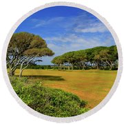 Fort Fisher Trees Round Beach Towel