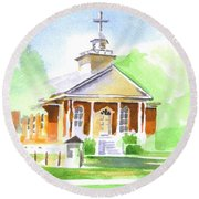 Round Beach Towel featuring the painting Fort Hill Methodist Church 2 by Kip DeVore