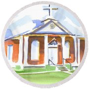 Round Beach Towel featuring the painting Fort Hill Methodist Church by Kip DeVore