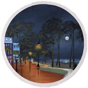 Fort Lauderdale Beach At Night Round Beach Towel