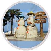 Fort Lauderdale Snowman Round Beach Towel