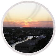 Fort Lauderdale Sunset Round Beach Towel