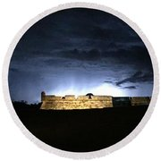 Lightening At Castillo De San Marco Round Beach Towel