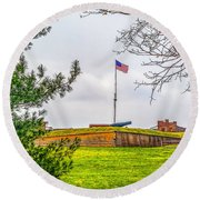 Round Beach Towel featuring the photograph Fort Mchenry National Monument  by Nick Zelinsky