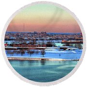 Fort Mchenry Shrouded In Snow Round Beach Towel