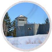 Fort Michilimackinac Northeast Blockhouse Round Beach Towel