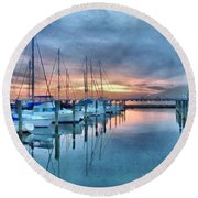 Fort Monroe Afire Round Beach Towel by Linda Mesibov