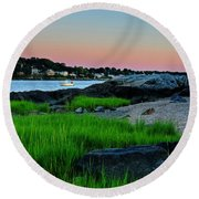 Fort Pickering Light Through The Tall Grass Salem Ma Round Beach Towel