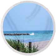 Fort Pierce Inlet Round Beach Towel