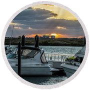 Fort Pierce Marina Round Beach Towel