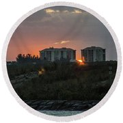Fort Pierce Sunrise Round Beach Towel by Nance Larson