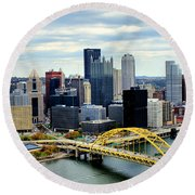 Fort Pitt Bridge Round Beach Towel